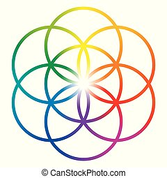 Seed of Life in rainbow colors