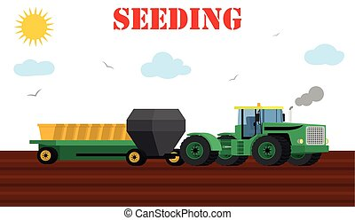 Seed planting process using a tractor and seeders. -...