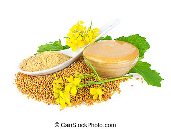 Seed, powder, flowers, leaves and ready mustard