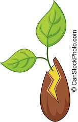 Seed sprouting icon, cartoon style