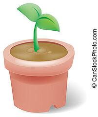 seeding in flowerpot - illustration drawing of green seeding...