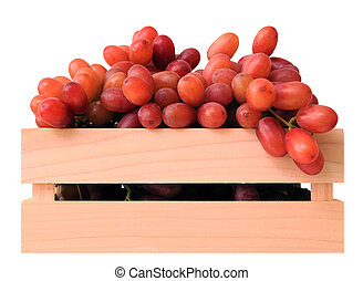 Seedless grapes in wooden case