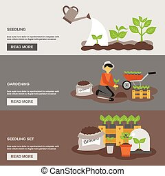 Seedling Banner Set - Seedling horizontal banner set with ...