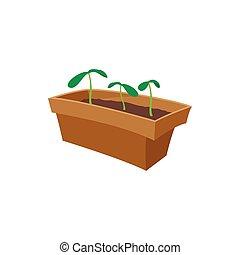 Seedling icon, cartoon style