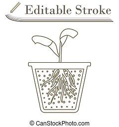 Seedling Icon. Editable Stroke Simple Design. Vector ...