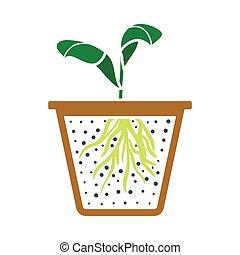Seedling Icon. Flat Color Design. Vector Illustration.
