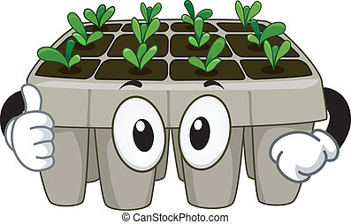 Seedling Tray Mascot - Mascot Illustration Featuring a...