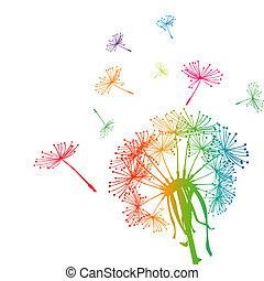 seeds, цветной, одуванчик