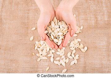 seeds., abóbora, enchido, mãos humanas