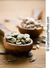 Healthy pumpkin and sunflower seeds