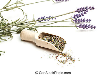Seeds of lavender on a wooden spoon