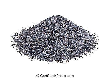 Seeds of poppy on white background