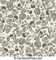 Vintage style seamless background with oak, maple, chestnut, beech and hornbeam seeds, seamless pattern, elements easy to use separately.