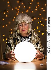 Seeing future from magic ball - Fortune teller seeing future...