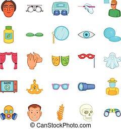 Seeing icons set, cartoon style - Seeing icons set. Cartoon...