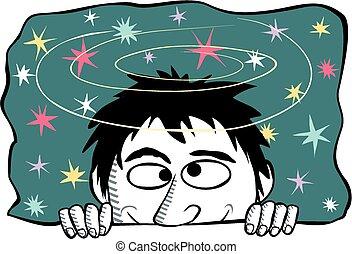 Seeing stars - Cartoon image of a dizzy man seeing stars.