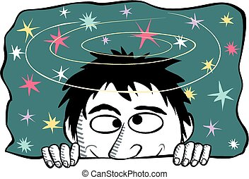 Seeing stars - Cartoon image of a dizzy man seeing stars.