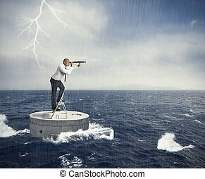 Seek a solution to the crisis - Businessman seek a solution...