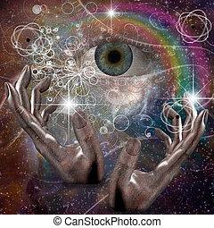 Seek - Hands manipulate atomic or other properties of...
