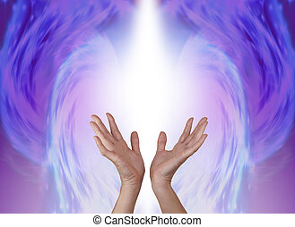 Female hands reaching upwards into an ethereal pastel blue and pink colored angel shaped energy field with plenty of copy space