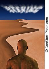 Seeking - Man in desert