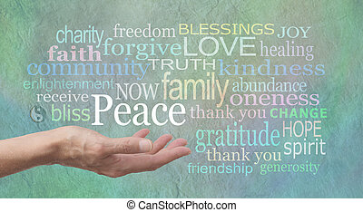 Female hand outstretched palm up with the word 'Peace' above surrounded by a word cloud of relevant words on a jade blue colored stone effect background