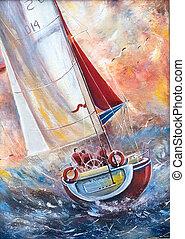 seeleute, boot, drei, segeln