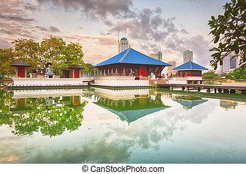 Seema Malaka temple on Beira Lake. Colombo, Sri Lanka