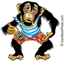 seemann, schimpanse, karikatur, betrunken