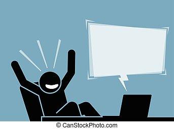 seende, meddelande, lycklig, efter, innehåll, dator, internet., känsla, spänd, man
