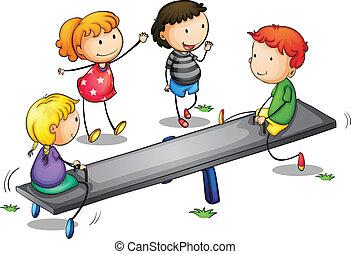 seesaw kids - Illustration of kids on a seesaw