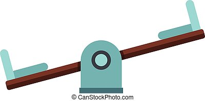 Seesaw on a playground icon, flat style - Seesaw on a ...