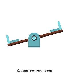Seesaw on a playground icon, flat style