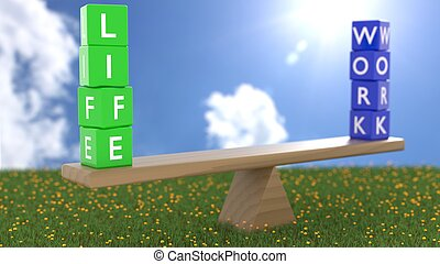 Seesaw on green grass on a sunny day with green dice