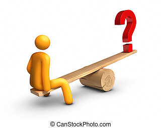 Seesaw - Question Mark - Stick figure sitting on seesaw with...
