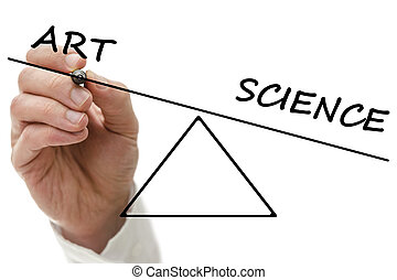 Seesaw showing an imbalance between art and science being weighted in the favor of science with a mans hand drawing the diagram with a marker pen on a virtual interface