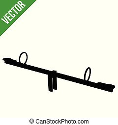 Seesaw silhouette on white background