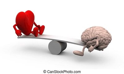seesaw with heart and brain, 3d animation loop