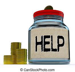 segítség, eltart, bögre, pénzbeli, hozzájárulás, vagy, látszik