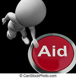 segítség gombolódik, eltart, bánásmód, segély, vagy, látszik