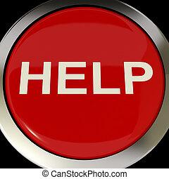 segítség gombolódik, felel, segítség, segély, vagy, látszik