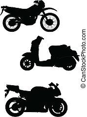 segítség, három, ábra, vektor, motorcycle., rajzoló