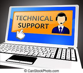 segítség, technical segítség, ábra, 3, laptop, látszik