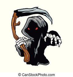 segadora, tenencia, ojos, caricatura, severo, rojo, scythe.