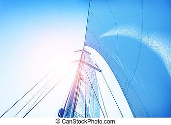 segel, auf, blauer himmel, hintergrund