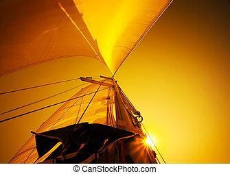 segel, aus, sonnenuntergang