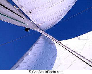segel, mit, wind