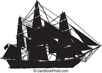 segel, silhouette, boot