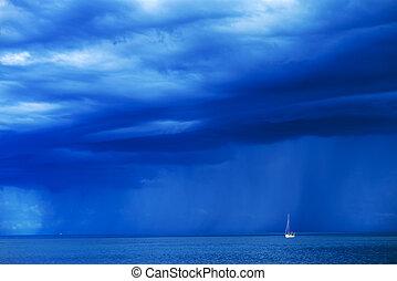 segelbåt, hos, stormig sjögång, horisont