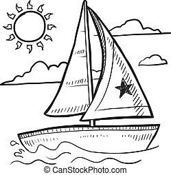 segelbåt, skiss